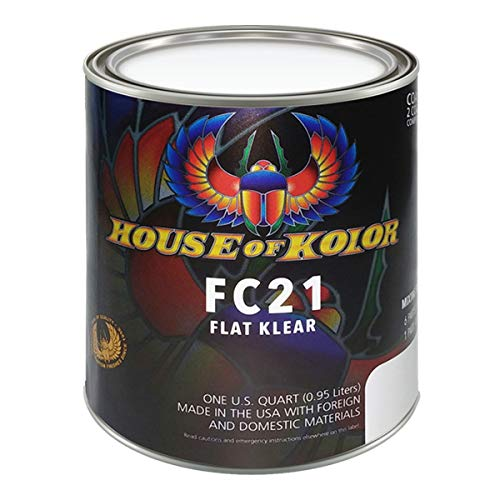 House of Kolor Low VOC Urethane Flat Klear | Low VOC Flat Finish Clearcoat, Can be Used Over All Solvent Based Basecoats | 1 Quart