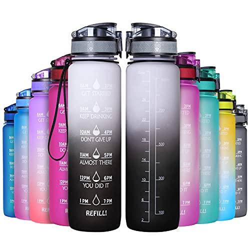 GeeRic Botella de Agua 750ml 1L 1000ml, Botella Agua Deporte Gimnasio portátil con Escala/Filtro/indicador, Botella de Agua Deportiva Gym
