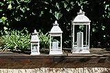 Homevibes Farol Portavela De Metal Blanco con Detalles Decorativos, Juego de 3 Piezas, Ideal para Velas Uso Interior o Exterior