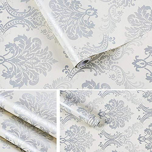"""LIFAVOVY Silver Damask Removable Wallpaper Peel and Stick Contact Paper Decorative Self Adhesive Shelf Drawer Liner Roll 17.7"""" x 393"""""""