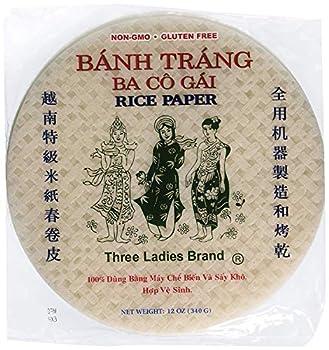 Three Ladies Brand Spring Roll Rice Paper Wrapper  2 Packs  Round 22cm