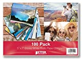 Glossy Photo Paper, 5 x 7 inch, 100 Sheets, by Better Office Products, 230 gsm, 5 x 7, 100-Count Pack