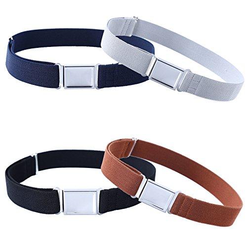 4PCS Kids Boys Adjustable Magnetic Belt - Big Elastic Stretch Belt with Easy Magnetic Buckle (Navy Blue/Grey/Black/Brown)