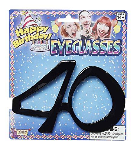 Forum Novelties-40 Birthday Glasses Lunettes, X68032, Noir