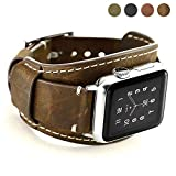 Coobes Compatible with Apple Watch Band 40mm 38mm Men Women Genuine Leather Compatible iWatch Bracelet Wristband Strap Compatible Apple Watch Series 5/4/3/2/1 (Crazy Horse Cuff Coffe, 40/38 mm)