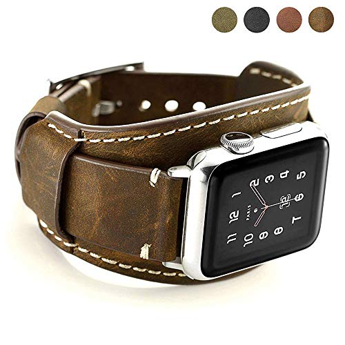 Coobes Compatible with Apple Watch Band 44mm 42mm Men Women Genuine Leather Compatible iWatch Bracelet Wristband Strap Compatible Apple Watch Series 5/4/3/2/1 (Crazy Horse Cuff Coffe, 44/42 mm)