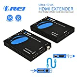 Orei 4K Extender HDMI Over Cat6 Cable 4K @ 60Hz with HDR, PoC, HDMI Loop-Out & IR Control - Up to 165 ft (UHD-EX165H-K)