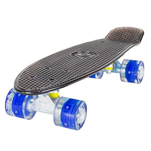 Land Surfer® Retro Cruiser, komplettes Skateboard mit durchsichtigem 56-cm-Deck - ABEC-7-Kugellager - PU-LED-Räder (59 mm), die bei Bewegung aufleuchten + Tragetasche - Klares Deck Schwarz/Blau LED