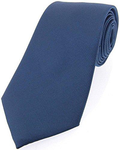 David Van Hagen Cravate Denim Blue Diagonal côtelé Soie de