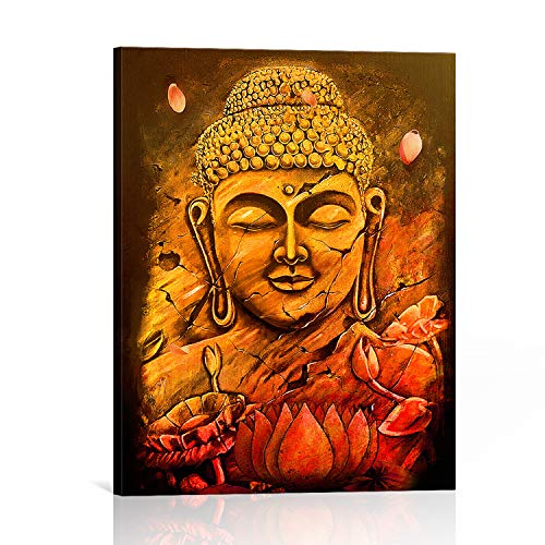 BOOPBEEP Canvas Wall Art Golden Buddha lotus Flower Zen Plant Pictures Floral 3d Hd Photo Printing Craft Poster Wooden Framed Stretched Vintage Rectangle Wall Artwork (8'x12', Golden Buddha Lotus)
