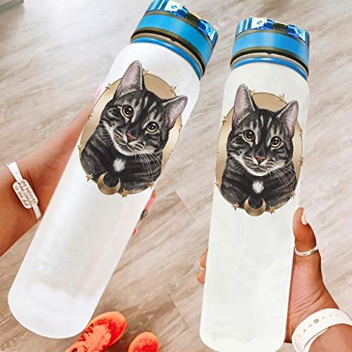 WOSITON Botella de agua deportiva de 32 onzas de gato, apta para lavavajillas, botella de camping, botella de deporte, botella de ciclismo, mejor regalo para amado blanco, 1000 ml