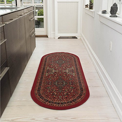 Ottomanson Ottohome Collection Persian Heriz Oriental Design Non-Skid (Non-Slip) Rubber Backing Modern Area Rug, 2' X 5' Oval, Dark Red