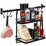 EZOWare Hanging 2 Tier Kitchen Organiser Spice Rack with Wall Mount Rail & 5 Adjustable Hooks Set, Storage Rack Organizer System for Hanging Pot, Pan, Utensils, Spices, Condiments - Black