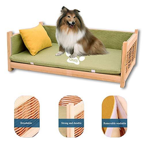 ZLI Cama para Perros Camas de Madera para Perros - para Mascotas Grandes, Medianas y Pequeñas, Cama Elevada para Perros con Colchón Lavable, Fácil de Montar (Size : S 40×30×20cm)