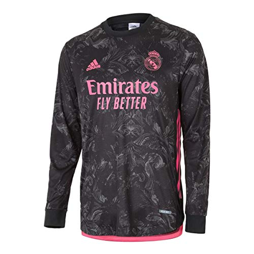 adidas Real Madrid 3rd Authentic Men's Long Sleeves Jersey 20-21 (S) Black