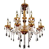 Elegant Lighting 7810G33G/RC Royal Cut Clear Crystal Alexandria 12-Light, Two-Tier Crystal Chandelier, 33' x 38', Finished in Gold with Clear Crystals