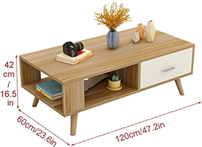 Mid-Century Modern Coffee Table,Coffee Table with Storage Shelf for Living Room, Modern Wood Look Coffee Table with Storage Bag and Cabinet, Easy Assembly, Rustic Brown