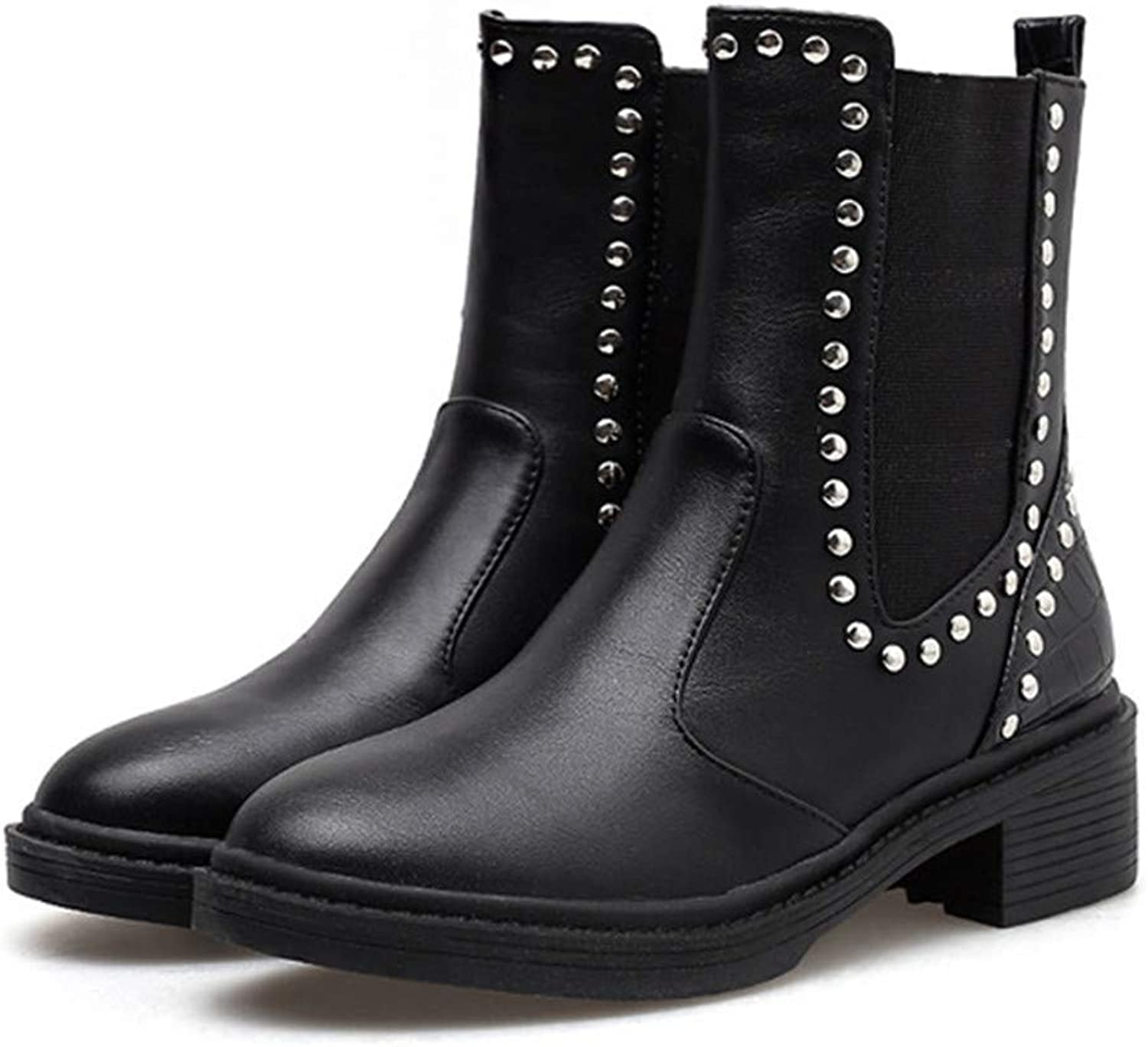 Vintage Rivets Chelsea Boots Women Solid Black Ankle Boots for Women Med Heel Black Martin Boots Women SWE0555