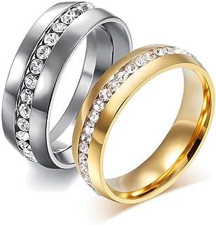 Mingjiahui Ladies Eternity Titanium Ring 18K Gold Plated Cubic Zirconia CZ Promise Engagement Wedding Band Ring 6MM Sizes 13