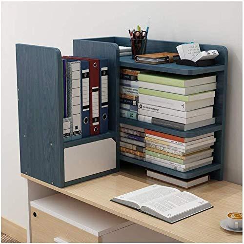 Skrivbordshyllor kreativ skrivbord bokhylla med låda kontor förvaringsställ trä display hylla kontorsmaterial skrivbord organisering tillbehör skrivbord förvaring organisatör (färg: Blå Storlek: Höger)
