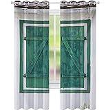 Cortinas opacas impresas, ventana de madera retro y persianas, imagen tradicional de granja casa bohemia, 52 x 108 cortinas opacas para habitación de los niños, color gris azulado