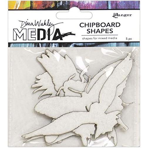 Dina Wakley Media 2020 Chipboard Shapes - Words, Ocean and Flying - Three Item Bundle |