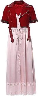 GLEST Aerith Gainsborough Cosplay Costume Coat Dress Uniform for Women's Halloween Remake Dress