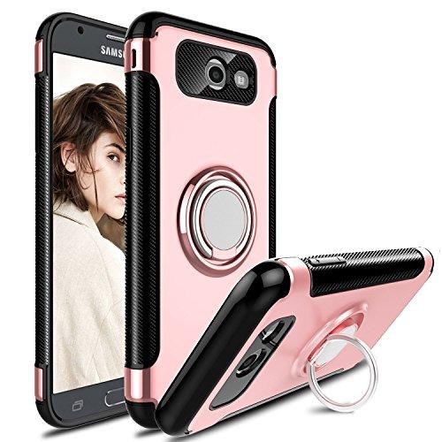 Hülle für Samsung Galaxy J7 Prime/Galaxy On7 (2016) / Galaxy On7 Prime (5,5 Zoll) 360 Grad Drehbar Ringhalter mit Magnetischer Handyhalter Auto Handyhülle (Roségold)