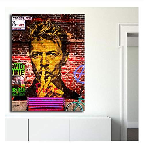 nr David Bowie Bleistift Porträt Leinwand Malerei Drucken Schlafzimmer Wohnkultur Moderne Wandkunst Ölgemälde Poster Bild HD-50x70cm Kein Rahmen