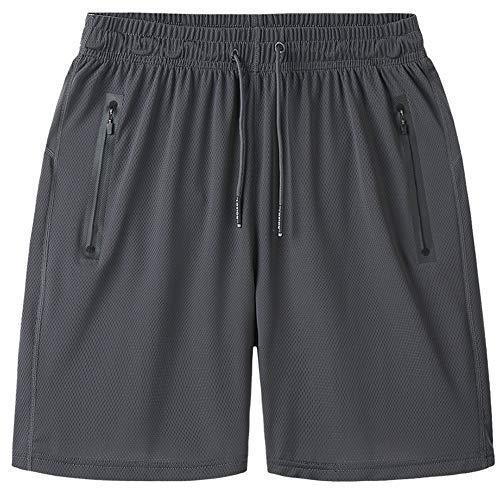 Hombres Secado Rápido Pantalones Cortos Entrenamiento Corriendo Caminando Atlético Shorts Gris 8XL