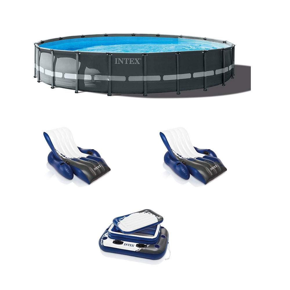 Intex Max 71% OFF 20ft x 48in 100% quality warranty Ultra XTR Round Lounger Pool Pump Ladder 2