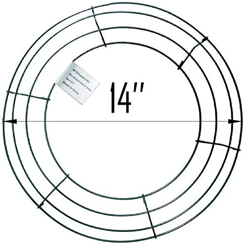 MTB Wire Wreath Rings Wire Wreath Frame for Christmas Party Decoration 14' Green, Pack of 5