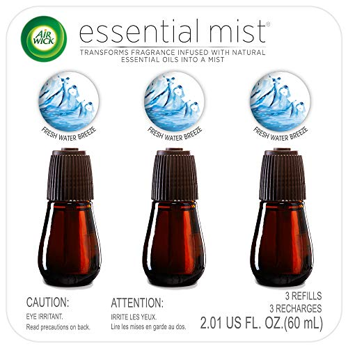 Air Wick Essential Mist, Essential Oil Diffuser Refill, Fresh Water Breeze, 3 Count, Air Freshener , 2.01 oz