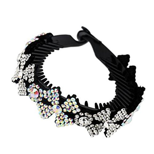 Mesdames Elegant Rhinestones Hair Bun Décor Ponytail Clip Hair Accessories, No.6