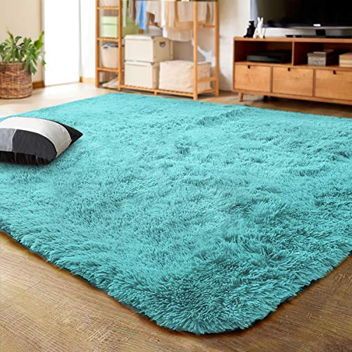 LOCHAS Ultra Soft Indoor Modern Area Rugs Fluffy Living Room Carpets for Children Bedroom Home Decor Nursery Rug 4x5.3 Feet, Blue