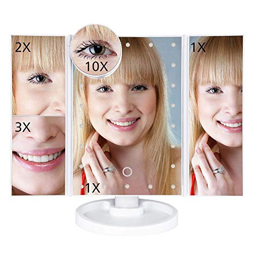 XYSQWZ Makeup Mirrors Led Touch Screen 22 Light Table Desktop Makeup 1x/2x/3x/10x Magnifying Mirrors Vanity 3 Folding Adjustable Mirror