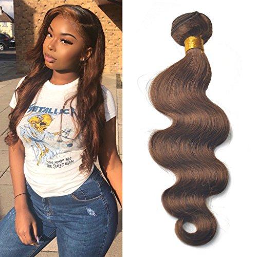Greemeo Brésilien Ondulé Cheveux Humains Tissage Extensions Body Wave 100 Grammes 1 Bundle Pack (12 Pouces, 4 Brun moyen)