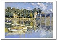 世界の名画 モネ アルジャントゥイユの橋(Le Pont d'Argenteuil) 4 ジークレー技法 高級ポスター (B3/364ミリ×515ミリ)