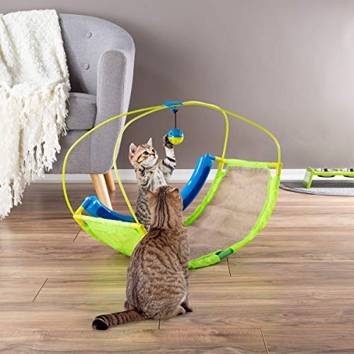 PETMAKER Interactive Cat Toy Rocking Activity Mat- Swing Playing Station with Sisal Scratching Area, Hanging Toy, Rolling Ball for Cats and Kittens