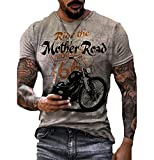 Camiseta con Estampado Route 66 para Hombre Camiseta de Motociclista con Cuello Redondo Camisetas de Manga Corta