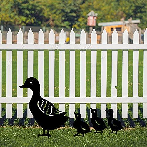 Gartendeko Metall, Gartenstecker Rost Ente, Yard Art Gartenschilder, Figuren deko Metalltier Innenhof Art Deco Gartenfigur Osterdekoration Gartendeko Interessante (4 Stück) (Schwarz, Ente)