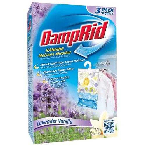 4 X DampRid FG83LV Hanging Moisture Absorber Lavender Vanilla, 3-Pack