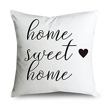 FabricMCC Cotton Linen Throw Pillow Cover - home sweet home - Home Decor - Wedding Gift - Cushion Cover 18 X 18 - Pillowcase for Couch
