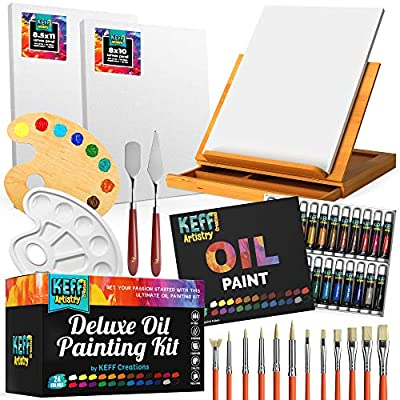 Keff Creations Oil Paint Set  Paint Set Includes Many Art Supplies- Table Easel, Stretched Canvas, Paint Brushes, Paint Pallet. Great Oil Kit for Starters or Professionals