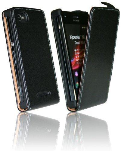ENERGMiX Handytasche Flip Style kompatibel mit Sony Xperia M Dual SIM in Schwarz Klapptasche Hülle