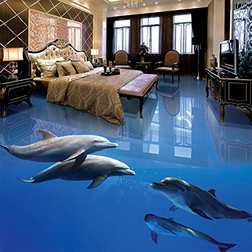 Suelo De Pvc 3D Impermeable Mural De Pared Personalizado Pintura De Suelo Papel Fotográfico De Murales De Pared 3D Delfín Bajo El Mar-300Cmx210Cm