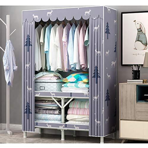 BCL Stoffschrank Schuhe Klapp Kleiderschrank einfachen Tuch Kleiderschrank freie Installation Haushaltsstahlrohr Verdickungs Bold Aufbewahrungsschrank Vollstahlrahmen Tuch Kleiderschrank (Color : A)