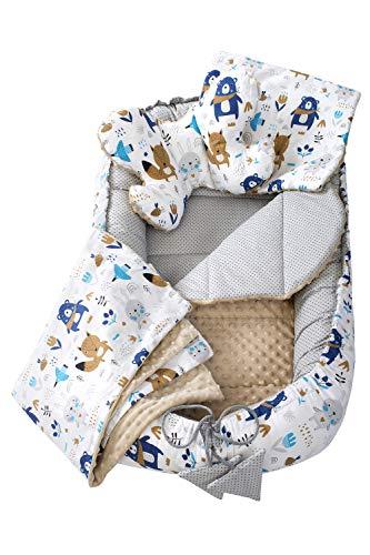 Juego de 5 piezas - Juego de nido de felpa con nido para bebé, 90 x 50 cm, extraíble, cojín plano, cojín para gatear, almohada para bebés, 100% algodón (Animales boho con beige Minky)