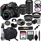 Nikon D3500 DSLR Camera with 18-55mm VR and 70-300mm Lenses + 128GB Card, Tripod, Flash, and More (20pc Bundle)