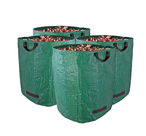BigDean 4er Set Gartenabfallsack XXL 272L groß - aus Polypropylen-Gewebe 150g/m² robust & wasserdicht - Gartensack Laubsack Grünabfall Müllsack für Garten